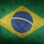 A grainy image of the flag of Brazil.