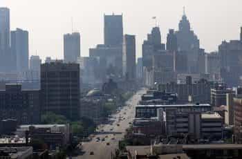 Detroit city skyscrapers skyline.