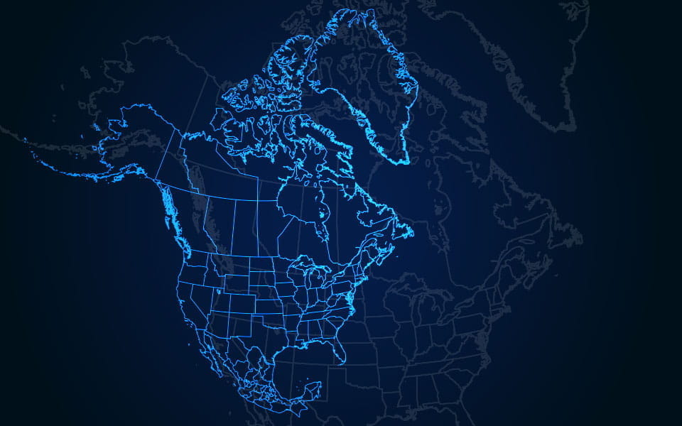 A stylized map of North America.