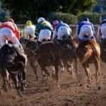 Race horses running around the track with jockeys.