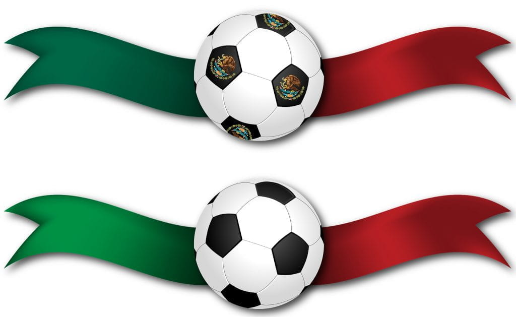 Computer graphics of two soccer balls, one above the other. Behind each soccer ball are large ribbons, which are green on the left side and red on the other (to indicate the Mexico flag).