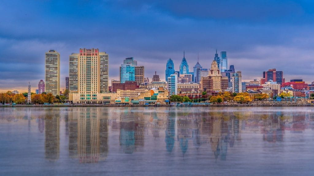 Philadelphia city skyline at dusk.