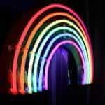 A rainbow neon sign.