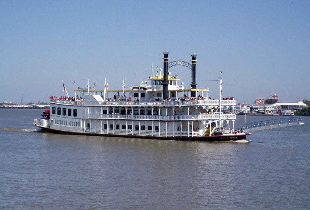 A riverboat paddle steamer sails in New Orleans, Louisiana.