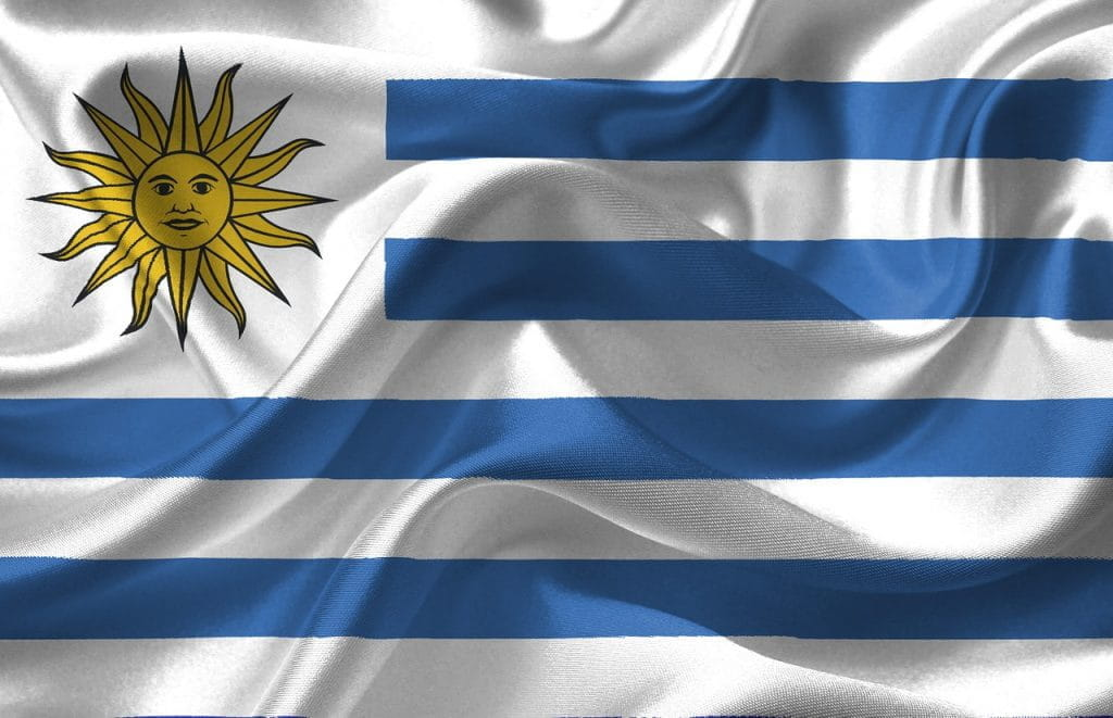 A photograph of the flag of Uruguay.