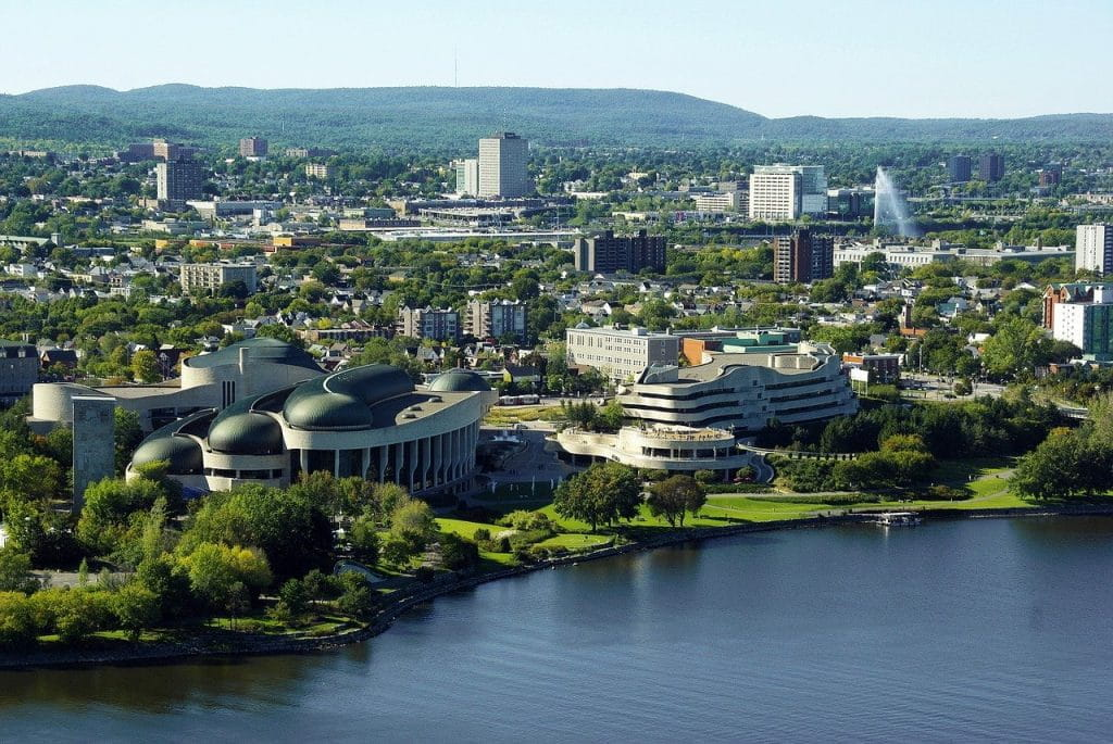 The city skyline of Ottawa, Ontario.