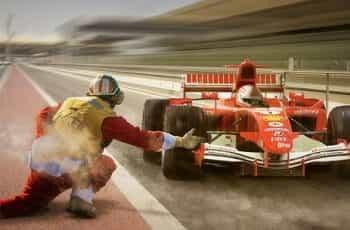 Formula 1 car on the track.