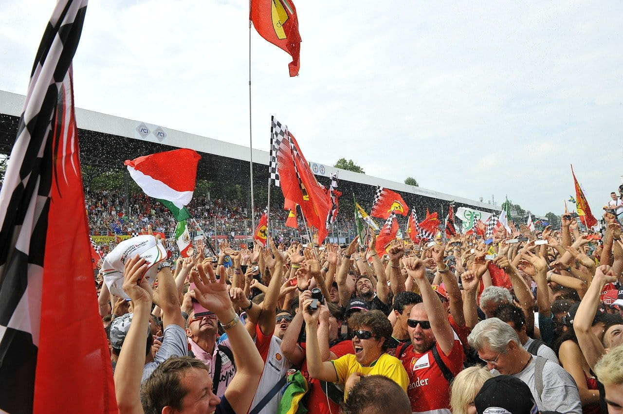 Fans of Formula One celebrating on the track.