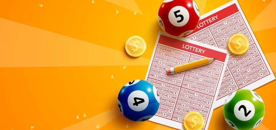 Lottery tickets and balls.