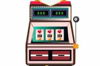 A color cartoon graphic of a slot machine.