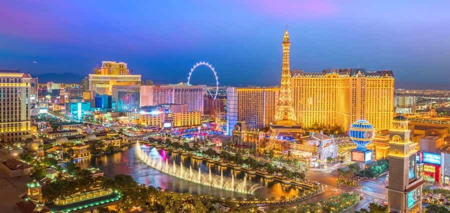 The skyline of Las Vegas at night.