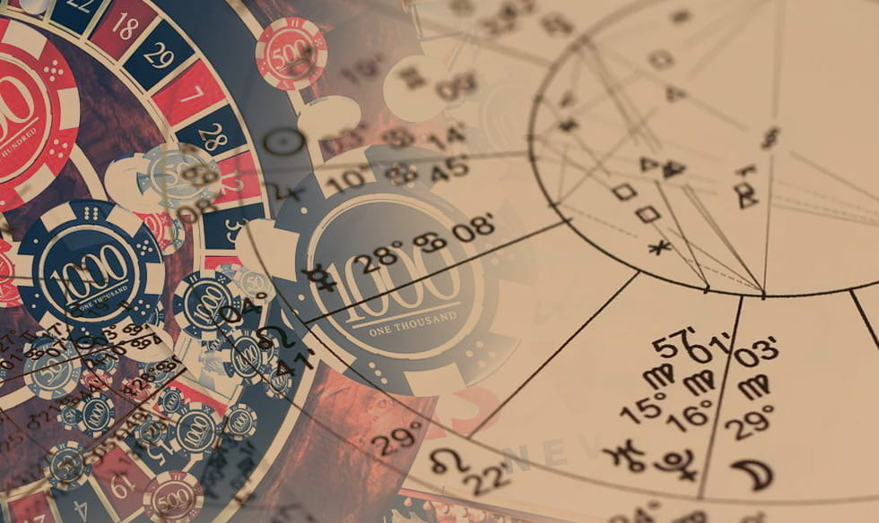 An astrological chart overlapping with a roulette wheel and casino chips.
