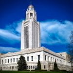 The exterior of the Capitol building in Lincoln, Nebraska.