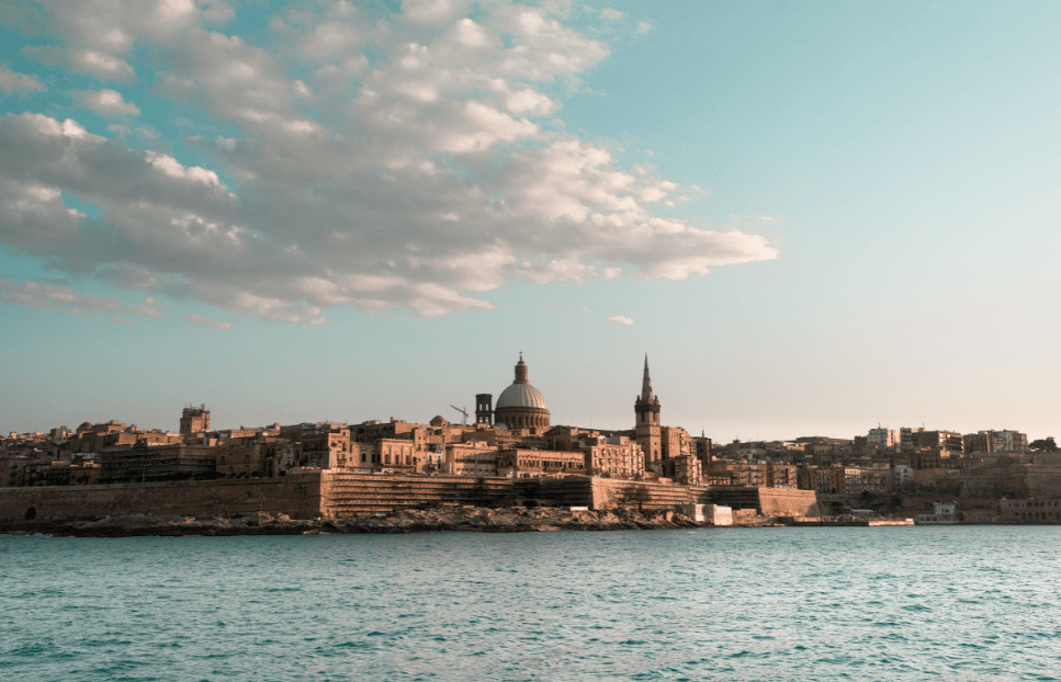 A view over the water to the Malta skyline.