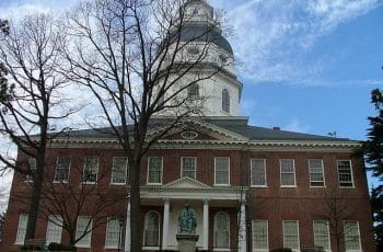 The exterior of the Maryland State House in Annapolis.