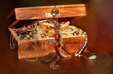 A treasure chest filled with gold and jewels.