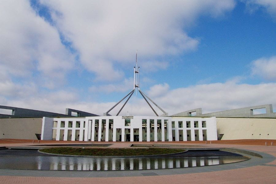 he Australian parliament building in Canberra.