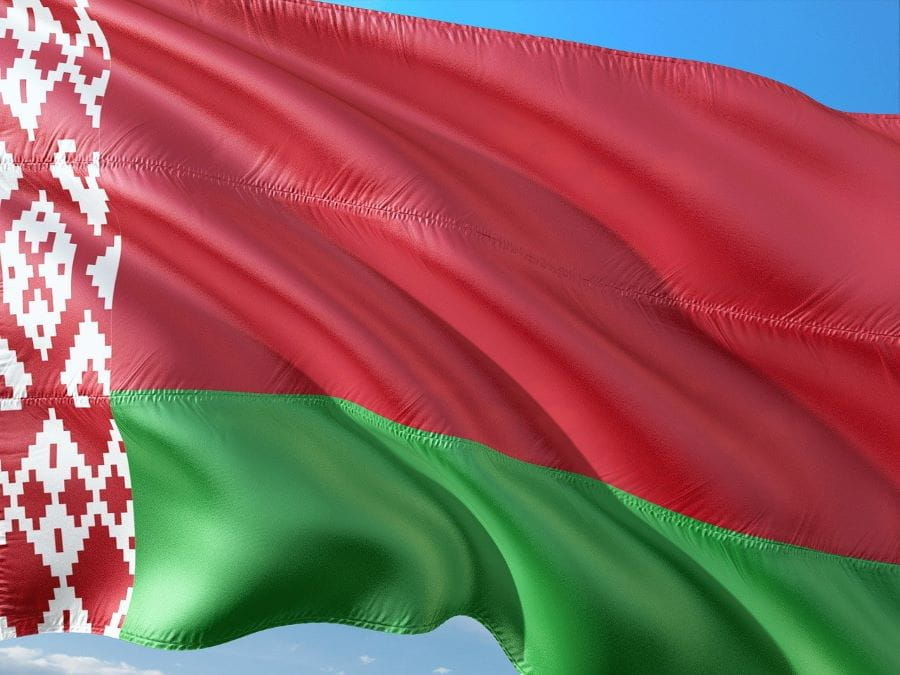 Belarusian flag flying in the wind.