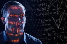 A person surrounded by mathematical formulae.