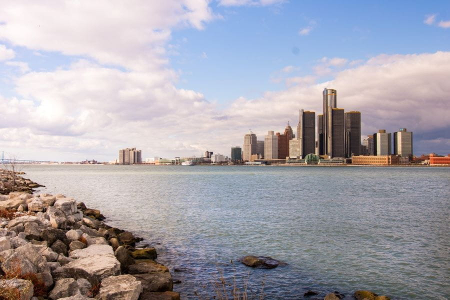 The Detroit waterfront.