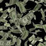 Dollar bills falling.