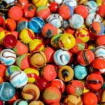 Lots of colorful glass marbles.