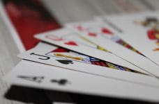 Hand of cards in poker.