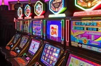 Slot machines casino floor.