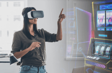 A woman wearing a virtual reality headset, next to images of slot machines.