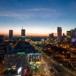The skyline of Warsaw in Poland at night.