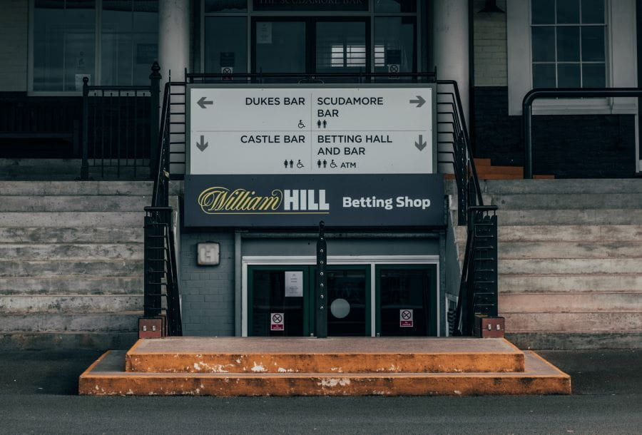 William Hill betting shop at Warwick racetrack.