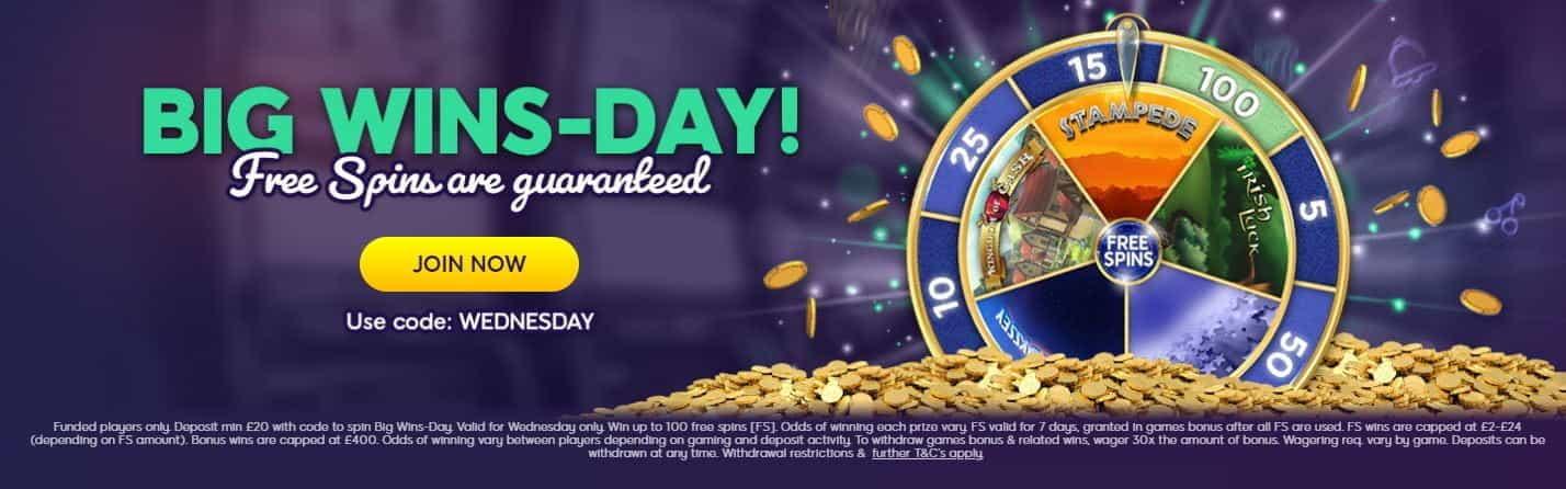 The Big Wins-Day bonus from Wink Slots.