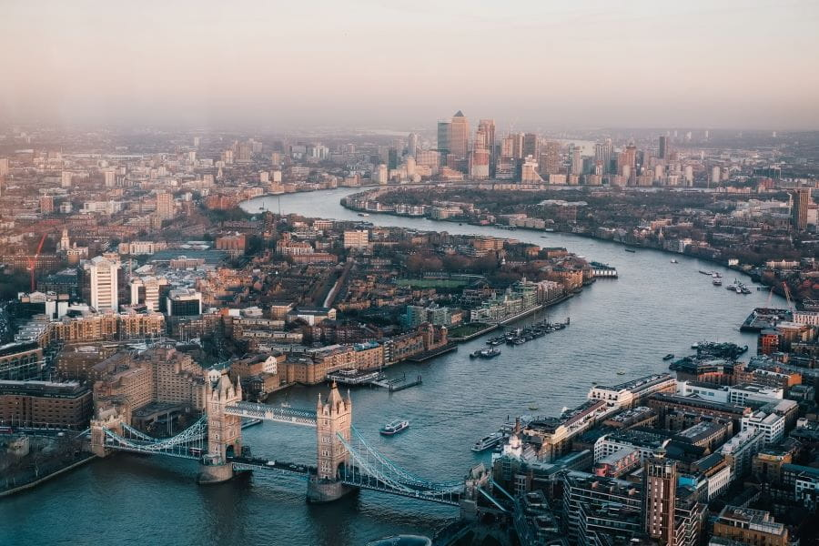 London from above, including the river Thames and London bridge.