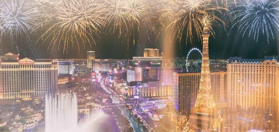 Fireworks exploding over Las Vegas.