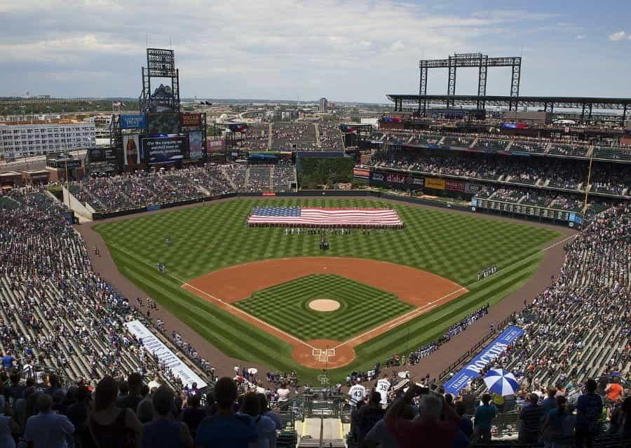 Coors field during Colorado Rockies baseball games.