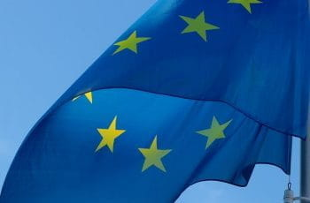 The flag of the European Union.