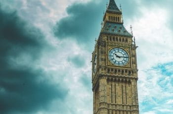 Big Ben clock against a stormy sky.