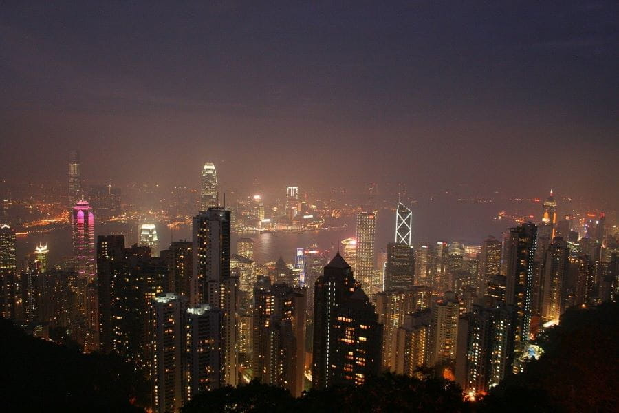 The city of Hong Kong at night.