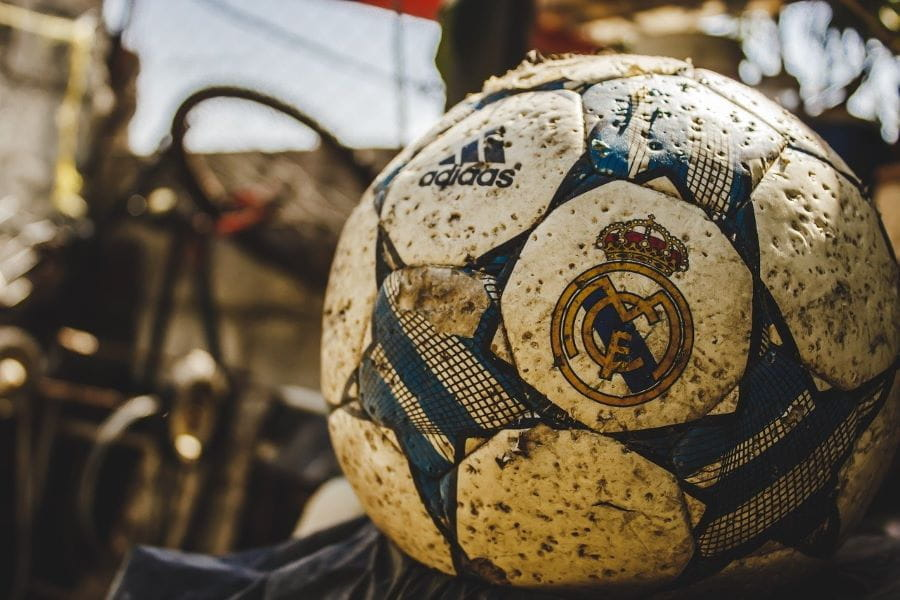 Old soccer ball of Real Madrid football team.