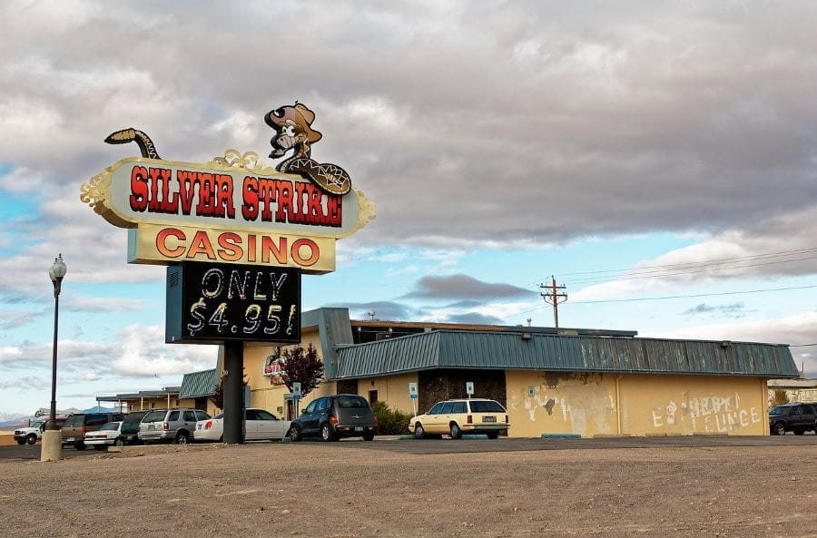 A small Nevada casino called Silver Strike at dusk.