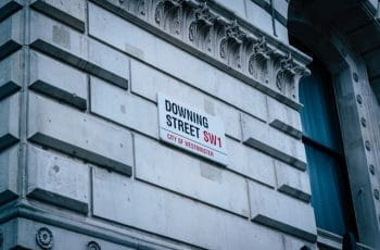 Downing Street sign in Westminster, London.