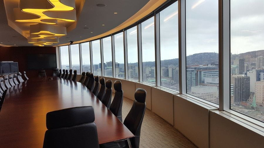 Boardroom overlooking city.