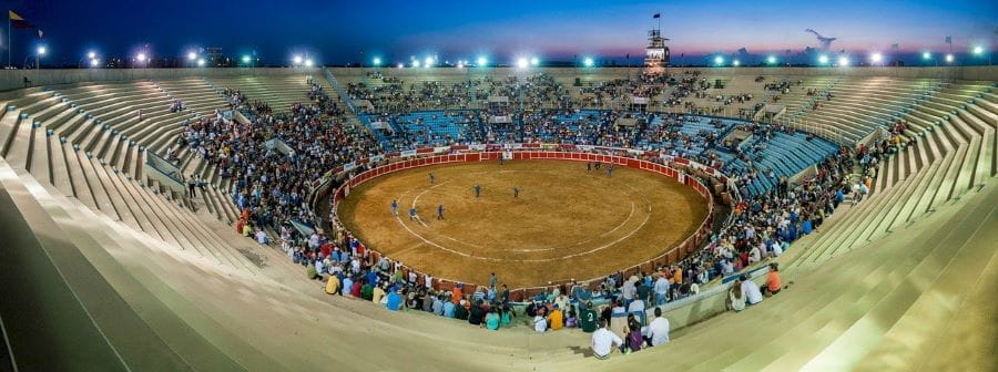 A sparsely populated bullfighting ring in Maracaibo, Venezuela.