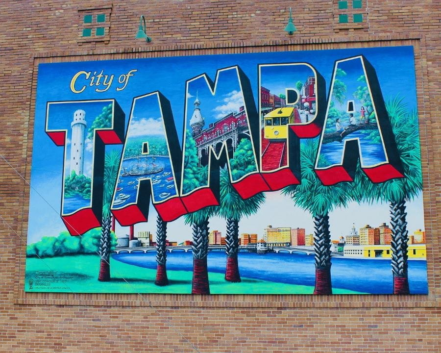 A painted wall mural for the City of Tampa.