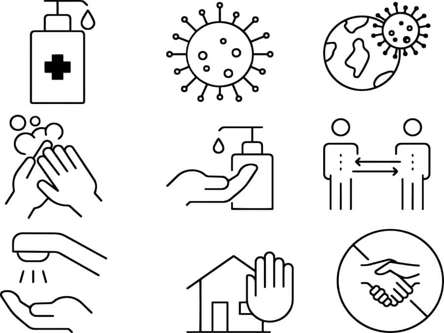 A series of line drawings about coronavirus: handwashing, hand sanitizer, social distancing.