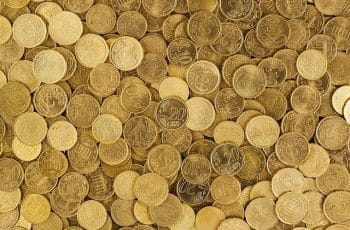 A pile of 20 and 20 cent coins.