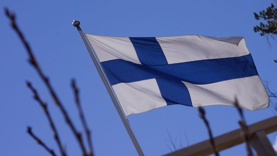 The Finnish flag with tree branches around it.