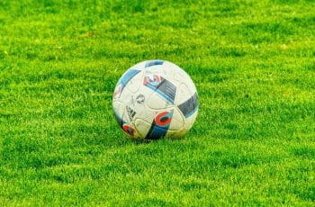 A football on the grass of a football pitch.