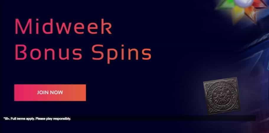 The Midweek Bonus Spins promo from Klasino.