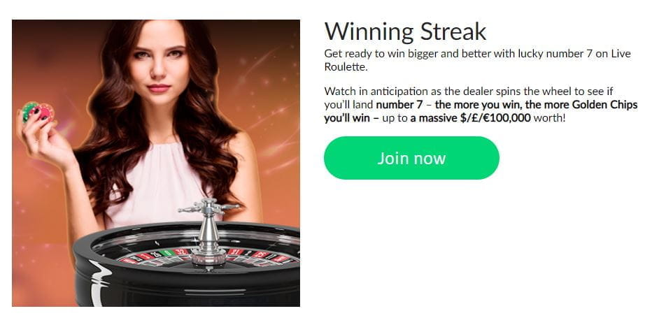 The Winning Streak promotion at Mansion Casino.